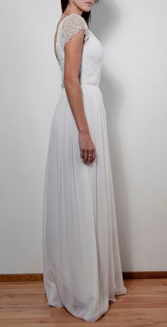 beaded capped sleeve Ivory lace and silk wedding dress