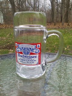 Huge Heavy Budweiser Beer Label Glass Stein Nearly 3lbs Empty Holds 40oz