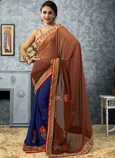Brown And Blue Patch Border Work Faux Georgette Designer Saree, Product Code :6668, shop now http://www.sareesaga.com/amazing-brown-and-blue-patch-border-work-faux-georgette-designer-saree-6668  Email :support@sareesaga.com What's App or Call : +91-9825192886