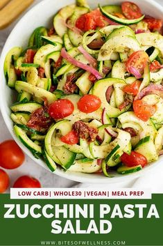 Zucchini Pasta Salad with Italian Dressing is the perfect healthy side dish for dinner or to bring to a party! This recipe is low carb, vegan, and keto friendly! Make it a meal with the addition of your favorite protein! Great for meal prep too! Healthy Side Dishes, Vegan Dishes, Healthy Sides, Healthy Foods, Dinner Dishes, Dinner Recipes, Dinner Ideas, Paleo Recipes, Real Food Recipes