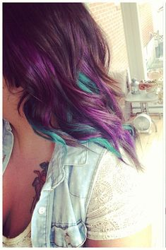 Peacock hair - Maybe do all plum with blue/green/turquoise strips and highlights?