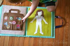 "Free Quiet Book Patterns | The suitcase has travel ""stickers"" that are fused and stitched ..."