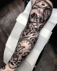 Our Website is the greatest collection of tattoos designs and artists. Find Inspirations for your next Clock Tattoo. Search for more Tattoos. Neue Tattoos, Dog Tattoos, Forearm Tattoos, Black Tattoos, Body Art Tattoos, Hand Tattoos, Grey Tattoo, Tattoo Ink, Best Sleeve Tattoos