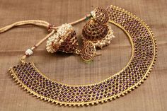 Antique Collar Kemp Necklace & Jhumka Set | Temple Of Kanchi Sarees, Temple Jewellery, Pure Silk, Kanchipuram