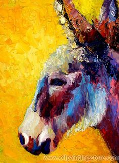 Hand-painted Animal Oil Painting - Donkey