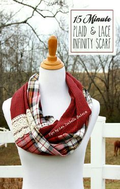 DIY 15 Minute Lace & Plaid Infinity Scarf!! #Tipit
