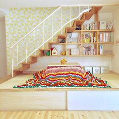 Pin on ロフト階段 Small Living Dining, Living Room, Staircase Design, Staircase Ideas, Green Wallpaper, Ideal Home, Stairs, Loft, Interior
