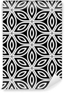 Fotomural Estándar Moderno del vector sin fisuras patrón de geometría sagrada, blanco y negro abstracto de la flor geométrica del fondo de la vida, la impresión del papel pintado, blanco y negro retro textura, diseño de moda del inconformista
