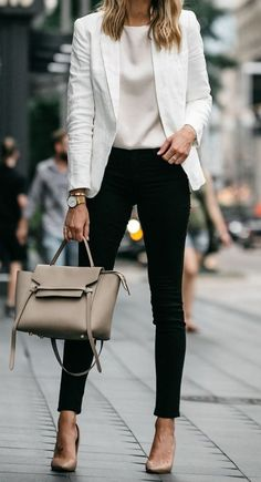 how to style a white blazer   top bag heels black pants 8aaeda73d