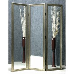 Golden Mirror 3-Panel Room Divider - With simple, smooth frames in a classic gold finish, the Golden Mirror 3-Panel Room Divider is a traditional and elegant choice. Beveled edges give each...