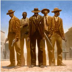 """""""Cowboys"""" Kadir Nelson; In this painting I see Will Smith (l) Morgan Freeman (2ndLeft) Danny GLOVER (C). Still not sure of the others."""