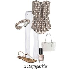 Spring fashion - taupe polka dot blouse w/white skinny jeans Fashion Mode, Work Fashion, Fashion Beauty, Womens Fashion, Fashion Trends, Petite Fashion, Fashion Bloggers, Curvy Fashion, Fall Fashion