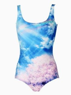 Shop Sunshine Sky and Sakura Print Swimsuit from choies.com .Free shipping Worldwide.