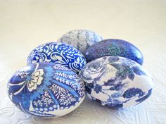 Easter Eggs Blue and White Easter Eggs Blue and by CatnipStudioToo, $37.00