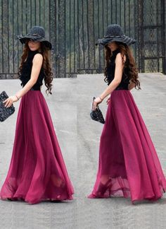 Pink Long Skirt - Maxi Chiffon Skirt | UsTrendy