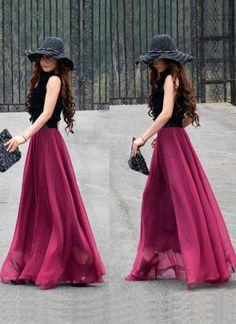 Pink Long Skirt - Maxi Chiffon Skirt   UsTrendy