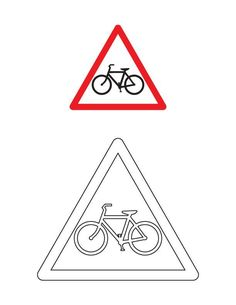 Cycle crossing traffic sign coloring page Printable Adult Coloring Pages, Free Printable Worksheets, Worksheets For Kids, Road Safety Signs, Cute Powerpoint Templates, Fall Coloring Pages, Preschool Activities, Transportation, Traffic Sign
