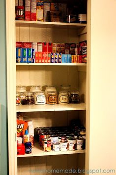 Not So Homemade transformed a dark and dreary closet into a bright and cheerful pantry. #pantry #kitchen