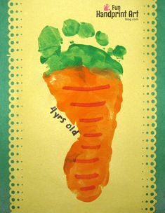 How to make a footprint carrot craft for Easter or Spring. It also could be used for a preschool vegetable theme. #eastercraftsforkidstoddlers