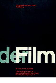 "Josef Muller-Brockmann, exhibition poster, 1960. His exhibition poster ""der Film"" demonstrates the universal design harmony achieved by mathematical spatial division. The proportions are close to the three-to-five ratio of the golden mean."