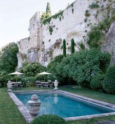 stone wall, pool