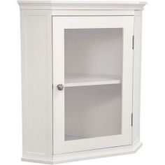 Shop for Classique White Corner Wall Cabinet by Elegant Home Fashions. Get free delivery On EVERYTHING* Overstock - Your Online Furniture Outlet Store! Get in rewards with Club O! Corner Medicine Cabinet, Bathroom Medicine Cabinet, Medicine Cabinets, Bathroom Wall Cabinets, Bathroom Furniture, Furniture Storage, White Furniture, Mirror Bathroom, Downstairs Bathroom