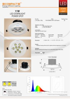 11W-Power spot LED Round 9 LED of 1W each Housing: Aluminium housing with heat sink for optimum thermal mangement of L.E.D Source.  Dimensions: Height=62 , Cutout=Ø115 , Outer Diameter=127.5  Electronic LED Driver:     Input: 240V (160-275)AC 50 Hz.     Output: 24 -36 V DC 300 mA  Installation: Recessed mounting with the help of 2 nos. spring loaded clamps in false ceiling.