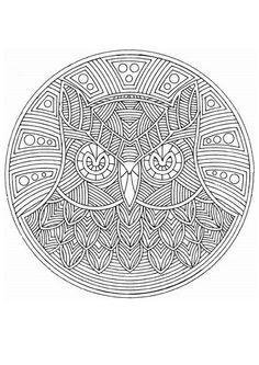 Owl Mandala for colouring