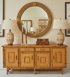 Mecox Exclusive Perkins Bamboo and Rattan 4 Door Buffet Bamboo Cabinets, Buffet Cabinet, Sideboard, Nesting Tables, Round Mirrors, Vintage Frames, Rattan, Entryway Tables, Dining