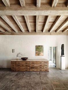 Elegantly simple, rustic beams and tile flooring by Axel Vervoordt . Rustic House, Decor, Rustic Design, Diy Decor, Decorative Ceiling Panels, Ceiling Decor, Wooden Ceilings, Diy Rustic Decor, Rustic Decor