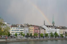 Rainbow over Zurich #Switzerland via @nomadicnotes