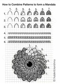 📝 Mandala Tutorial- 1 📝 Learning by Teaching!😊 Yes, I' learn so much when I work on such tutorials. Having no experience in Online… Doodle Art Designs, Art Lessons, Art Drawings Simple, Art Drawings, Zentangle Drawings, Mandala Art Lesson, Mandala Pattern, Pattern Art