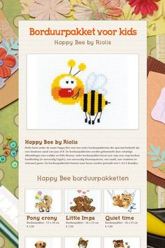 Happy Bee by Riolis : borduurpakket voor kids. Bekijk de flyer!
