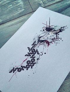 Trash polka has a dark sinister feel Bull Tattoos, Arrow Tattoos, Body Art Tattoos, Sleeve Tattoos, Sketch Tattoo Design, Forearm Tattoo Design, Tattoo Designs, Geometric Wolf Tattoo, Geometric Sleeve Tattoo