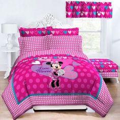 Disney Minnie Comforter Set Exploded Hearts Reversible Twin/Full Comforter New   #Disney