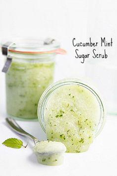 DIY Cucumber Mint Sugar Scrub DIY Vegan Beauty Recipes Repinned by www.livewildbefree.com