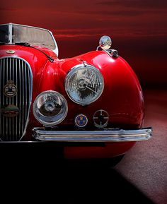 1952 Jaguar Xk120 Sport Car Red Colour On Sunset Fine Art Print