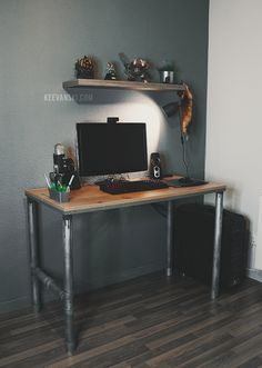 DIY Industrial Desk (English Subtitles) DIY Escritorio estilo Industrial + Gaming Setup
