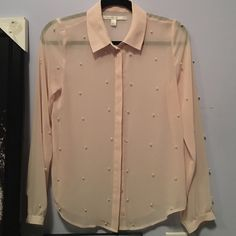 LC button up sheer pink shirt size 2 Size 2 sheer pink Lauren Conrad shirt (worn once) Lauren Conrad Tops Blouses