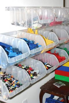 LEGO Storage Ideas To Keep Your Bricks Organized - - LEGO bricks need a home so you can avoid losing and stepping on them. Keep reading for a handful of awesome LEGO storage ideas for your home. Kids Storage, Toy Storage, Storage Ideas, Storage Cubes, Legos, Lego Lego, Lego Batman, Lego Station, Lego Bedroom