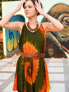 5647a6976e16d Hippie Tie-Dye Casual Asymmetrical Reggae Summer Dress