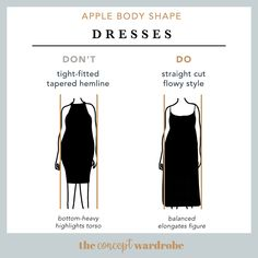In this section, we explore how to dress the apple body shape to achieve a balanced silhouette. Make sure to check all body shapes that apply to you. Apple Body Shape Outfits, Apple Shape Fashion, Dresses For Apple Shape, Styled By Susie, Body Shape Guide, Apple Body Shapes, Apple Dress, Pear Body, Body Types