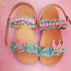 Handmade leather baby sandals in pink and turquoise colors Boho Sandals, Kids Sandals, Bare Foot Sandals, Fashion Sandals, Toddler Shoes, Kid Shoes, Girls Shoes, Baby Shoes, Toddler Fashionista