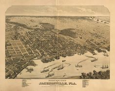 Historic Map of Jacksonville, FL - 1876.  www.worldmapsonline.com