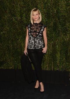 Reese wore a black lace sleeveless Chanel blouse with white underlay and black J Brand leather skinny pants. I like the mix of sophistication and edge with the lace and leather! I like this look without the black blazer.