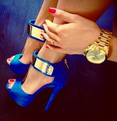 shoes, heels, stilettos, sandals, blue, gold