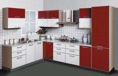 42 Best Modern Kitchen Cabinets Design Decoration Ideas - About-Ruth Red And White Kitchen Cabinets, Kitchen Cabinets Color Combination, European Kitchen Cabinets, European Kitchens, Kitchen Cabinet Styles, Kitchen Drawers, L Shaped Modular Kitchen, L Shaped Kitchen Designs, Kitchen Room Design