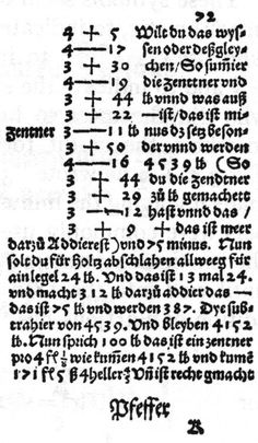 Frammento della Mercantile Arithmetic  di Johannes Widmann (1489)