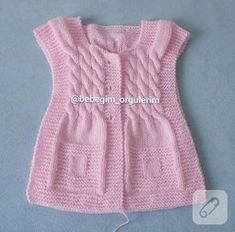 This Pin was discovered by Ayş Knitting Blogs, Baby Knitting, Crochet Baby, Lace Vest, Knit Vest, Knit Baby Dress, Vest Pattern, Baby Afghans, Summer Hats