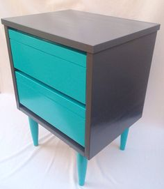 Mid Century Modern End Table Nightstand Gray Aqua 2 Drawers Vintage Bedroom Furniture Home Decor Grey Turquoise Color Block Storage